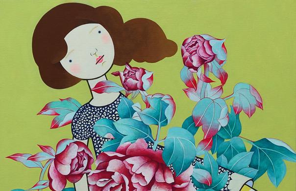 あなたに手紙を書こうとしていた, 長沢郁美, 2013年, キャンバスにアクリル、色鉛筆, 1000 x 1000 mm