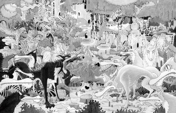 Wolf Eyes, 沖冲., 2014年, 紙にインク、アクリル, 1189 × 840 mm