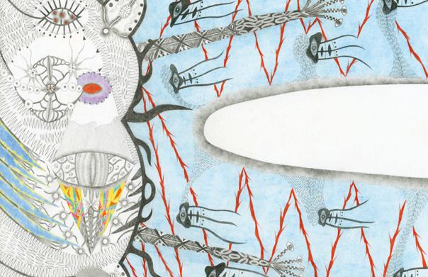 あれがやってくる, 草井裕子, 2012年, 紙に色鉛筆, 297x210 mm