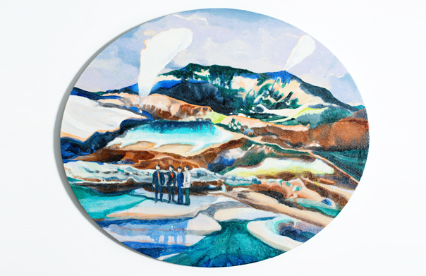 The visitor, 久野志乃, 2014年, キャンバスに油彩, 500 × 600 mm(楕円形)